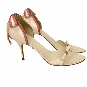 Alexandra Neel Cream Pink Bow Open Toe Retro Heels